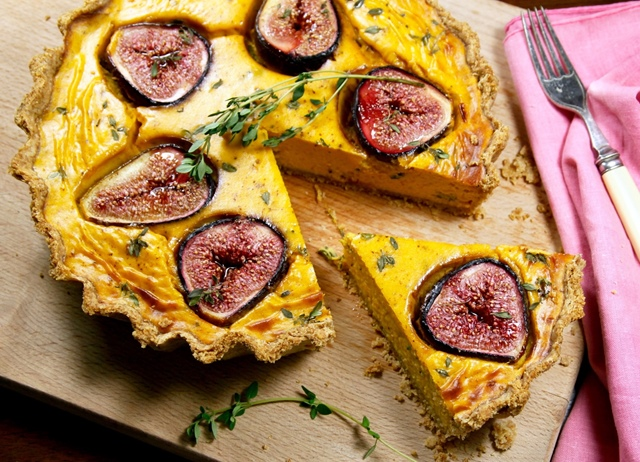 Title: Pumpkin, goat's cheese and fig tart with lemon thyme