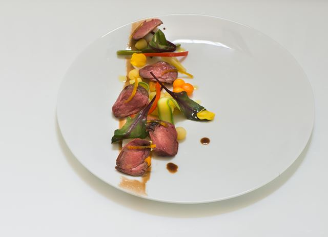 Pigeon breast salad with crispy vegetables