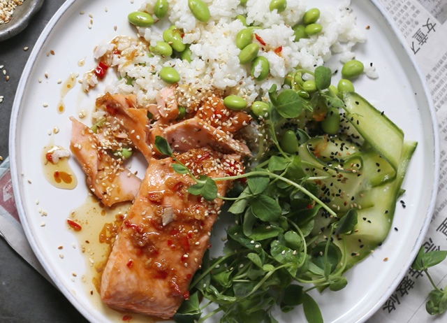 Salmon with sticky coconut rice