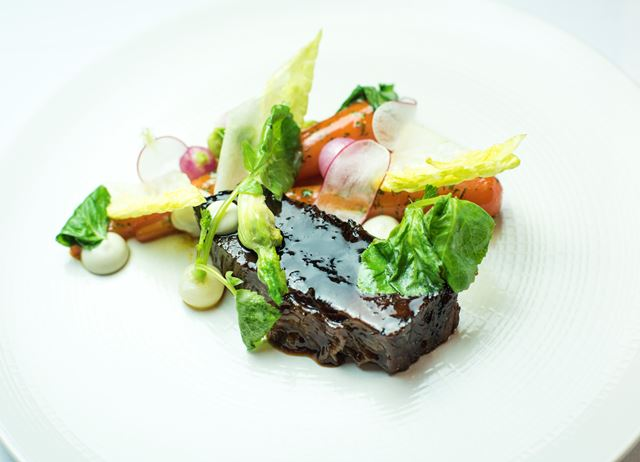 Maple brined and braised beef brisket with oyster emulsion