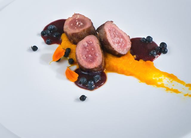 'The woods' – wild boar loin with honey, pumpkin and wild blueberry sauce