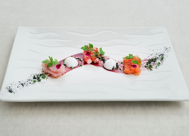 Raw fish – mixed sashimi with margarita mousse, wafers and port reduction