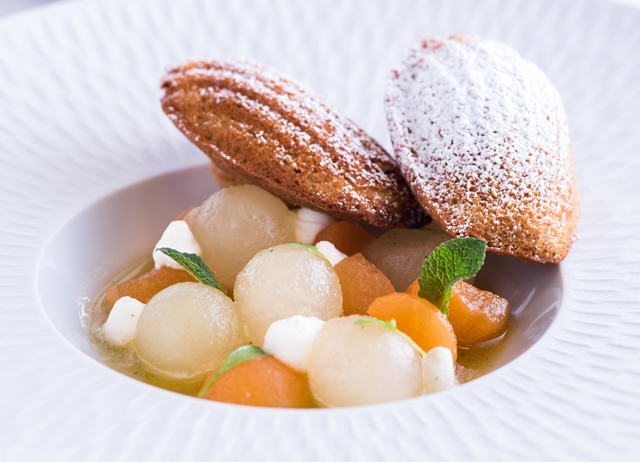 Melon soup with mint, lemongrass and warm madeleines