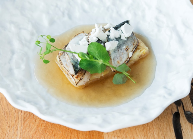 'Pop' – marinated mackerel with potato cream and leek and katsuobushi broth