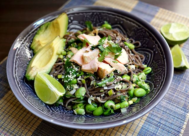 Matcha-poached salmon noodle bowls with edamame, sesame and avocado