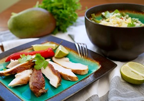 Matcha-smoked chicken with mango rice salad