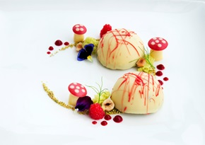 Liquid core - white chocolate and cardamom mousse with pistachio sponge
