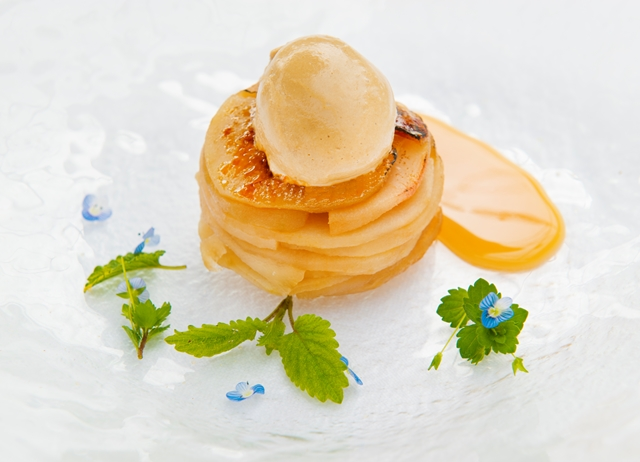 Pear tarte Tatin with liquorice ice cream and lemon brittle