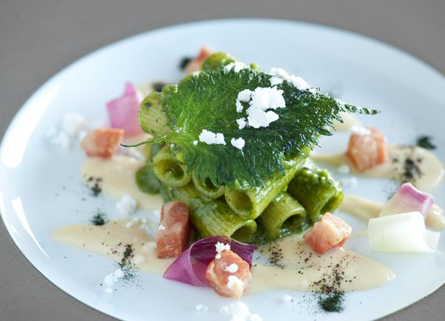 Rigatoni with shiso pesto, guanciale and Amatriciana sauce