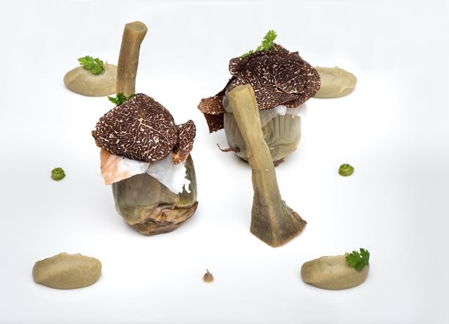 Pecorino-stuffed artichokes with black truffle and guanciale