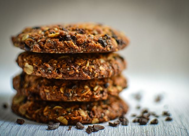 Cacao nib and chia seed flapjack cookies