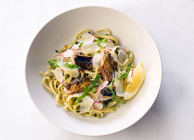Linguini of charred mackerel with rocket and almond, aged Parmesan and Amalfi lemon