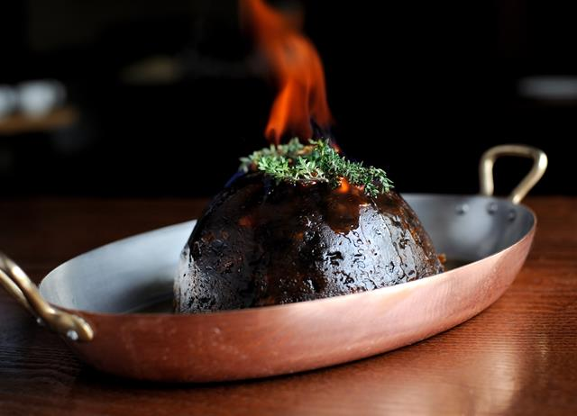 Christmas pudding with brandy butter
