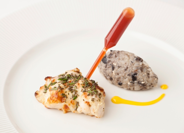 Rosemary chicken tikka, chilli pipette and black olive khichdi