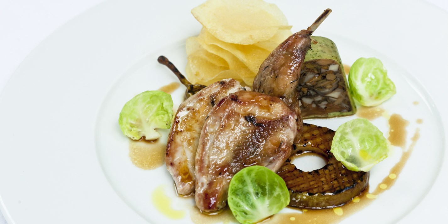Partridge with pears and Christmas stuffing
