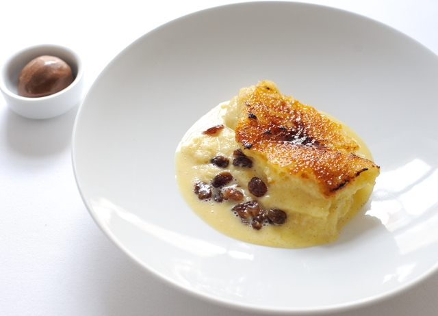Bread and butter pudding with chocolate sorbet