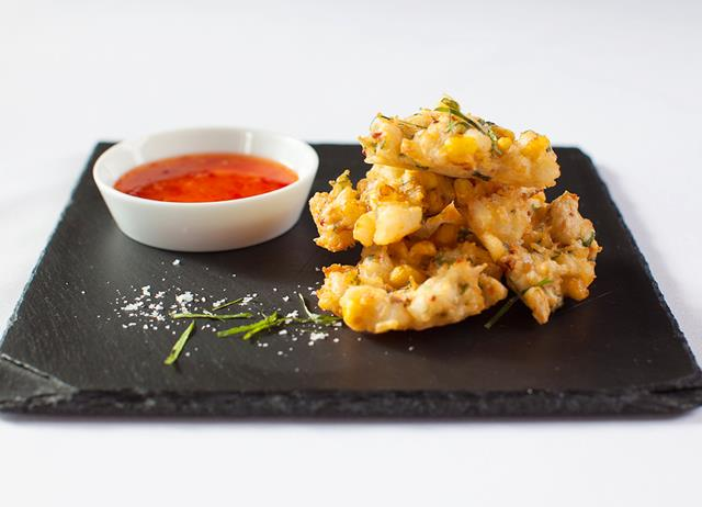 Crispy crab, sweetcorn and coriander fritters with sweet chilli sauce