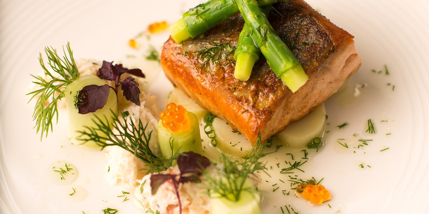 Pan-roasted fillet of salmon with marinated Jersey Royals and dill and ...