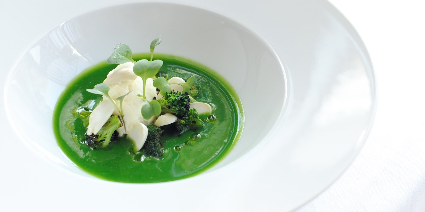 Chilled broccoli soup, salt cod mousse, seared hand-dived scallops and ...